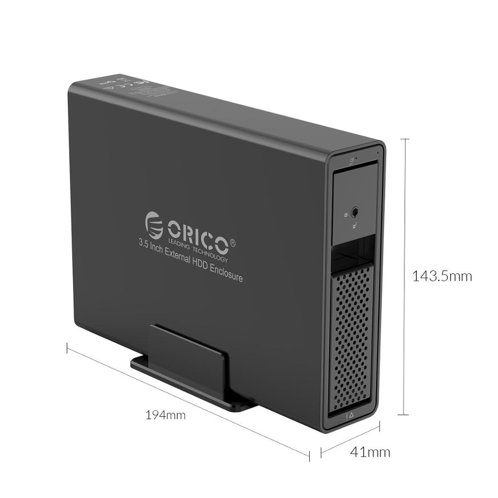 Image 3 - ORICO 3.5 inch 1 Bay HDD Enclosure Aluminum USB3.0 to SATA 16TB HDD Docking Station with 24W External Power Supply-in HDD Enclosure from Computer & Office