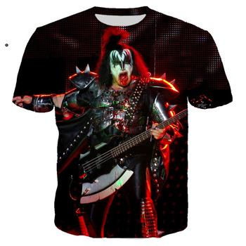 Pop Gene Simmons camiseta de guitarra con estampado 3D beso de banda de Rock, camiseta para hombre y mujer, Ropa de calle informal, hip hop, Ropa de Camiseta con cuello redondo