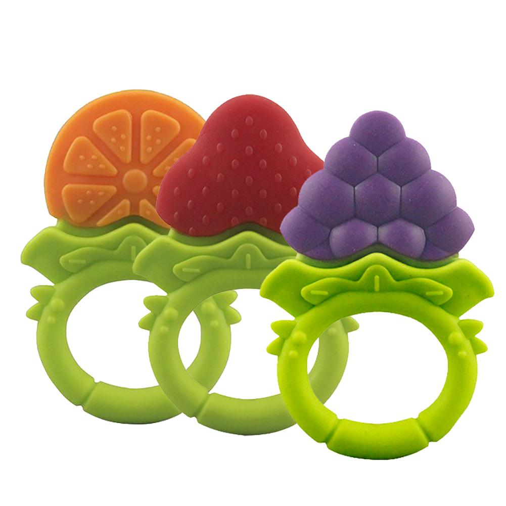 Baby Silicone Fruit Grape Strawberry Orange Teether Teething Chew Ring Toy Gift