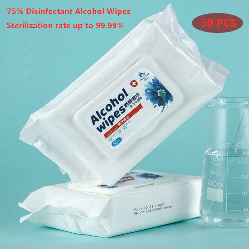 50PCS/Bag Disinfection Wipes Sterilization First Aid Alcohol Wipes 75% Skin Cleaning Care Disposable Alcohol Wipes Antibacterial