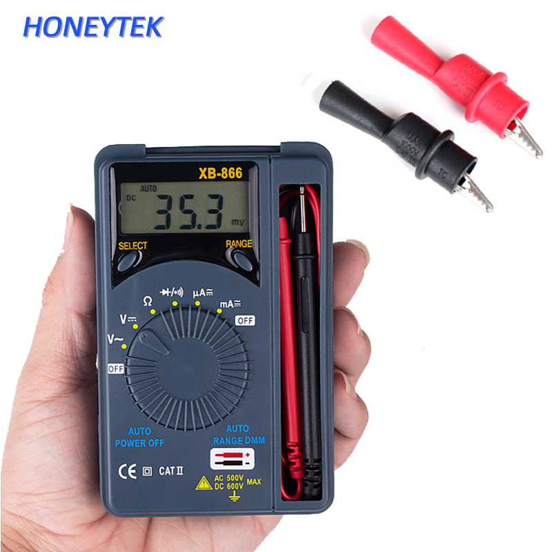 HONEYTEK Mini Multimeter Digital AC/DC Voltage Current Tester Multimeter Pocket Auto Range Digital Tester Voltmeter  XB866