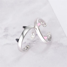 New Fashion Sweet Animal 925 Sterling Silver Jewelry Personality Black And Pink Cat Ear Footprints Epoxy Opening Rings  SR644