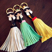 2020 Fashion creative PU leather tassel keychain For Women Bag Car pendant key Ring Girl Mobile Phone Accessories Gift Wholesale