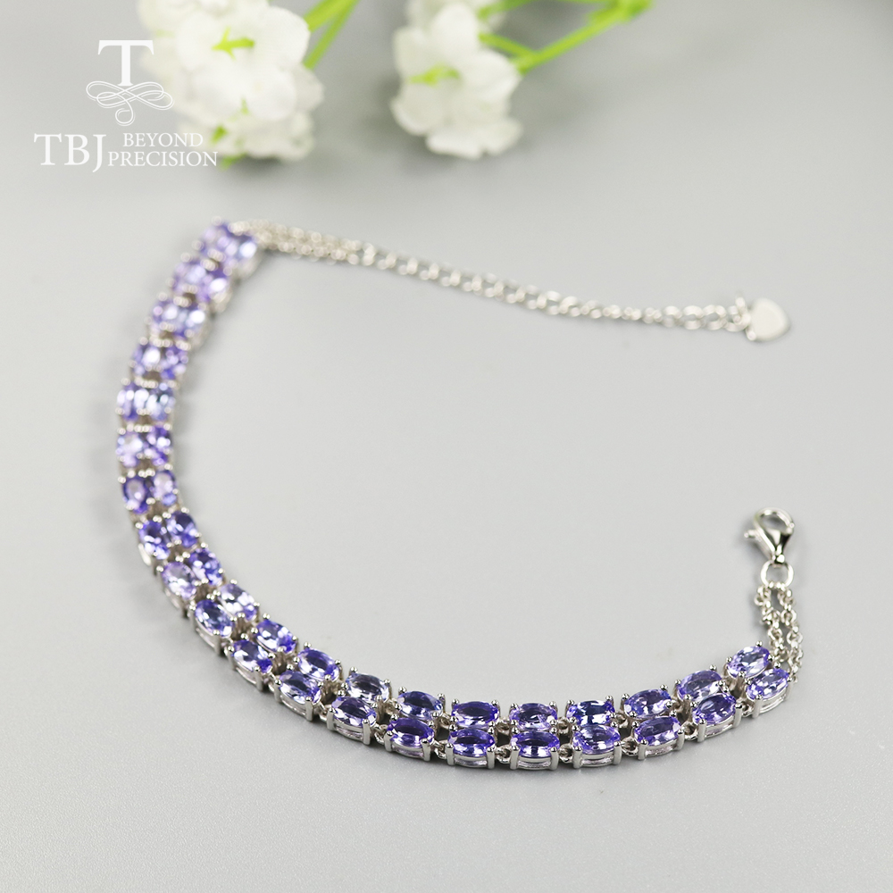 10ct up 100% Natural Blue Tanzanite Bracelet oval 3*5mm 40 pieces precious gemstone fine jewelry for women 925 sterling silver image
