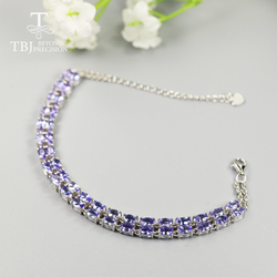 10ct up 100% Natural Blue Tanzanite Bracelet oval 3*5mm 40 pieces  precious gemstone fine jewelry for women 925 sterling silver
