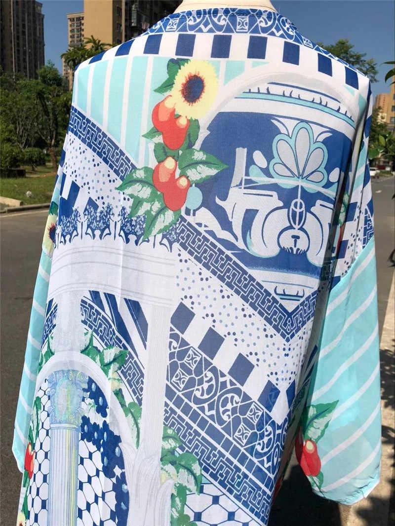 بوهو البوهيمي طباعة الأزرق القطن طويل شاطئ كيمونو سترة ملابس السباحة التستر حجم كبير المرأة الصيف بكيني شاطئ التفاف N479
