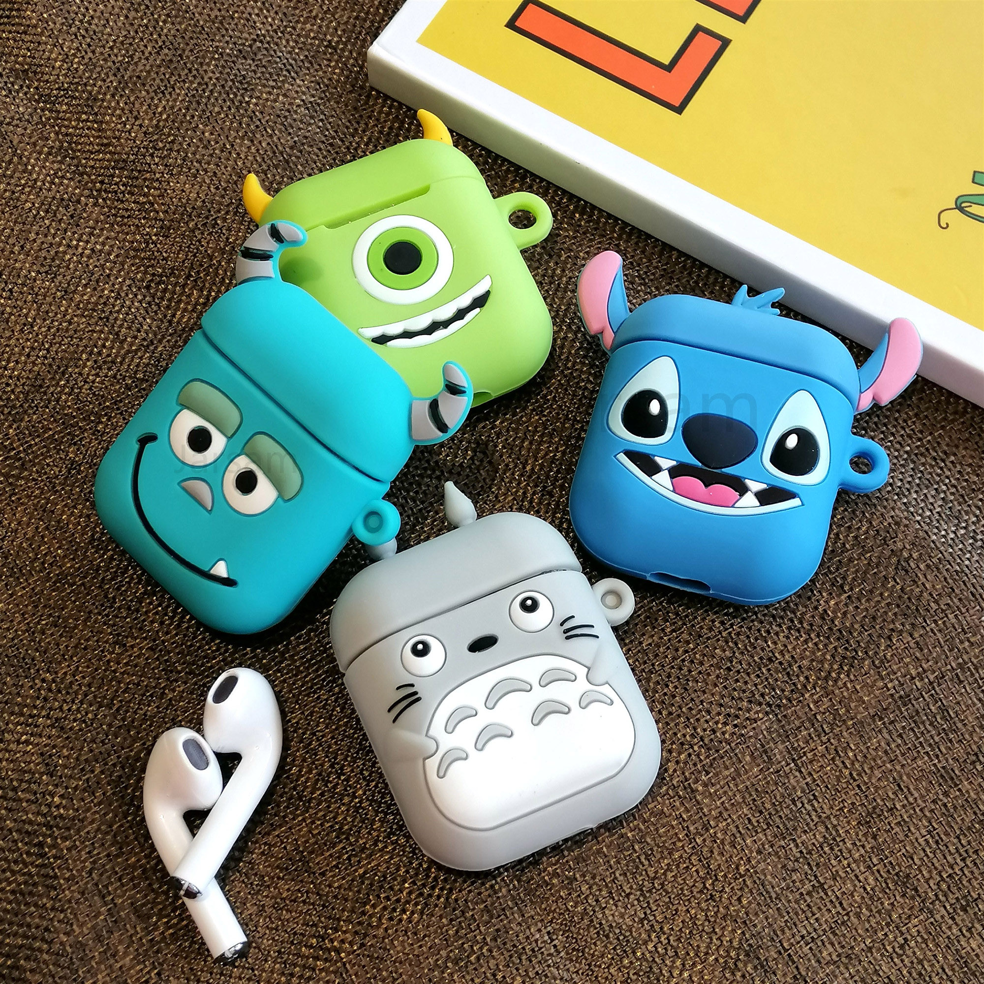 For AirPods Case Cute 3D Cartoon Pattern Earphone Case For Apple Airpods 2 Soft Silicone Protect Cover