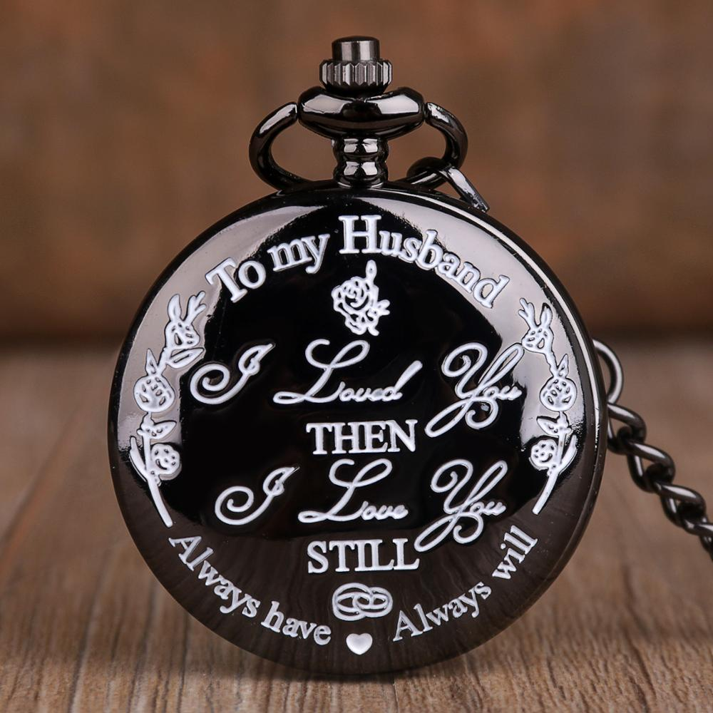 To My Husband Always Will I LOVE YOU Quartz Pocket Watch Fashion Casual FOB Clock Chain Pocket Watch Gifts For Lover Husband
