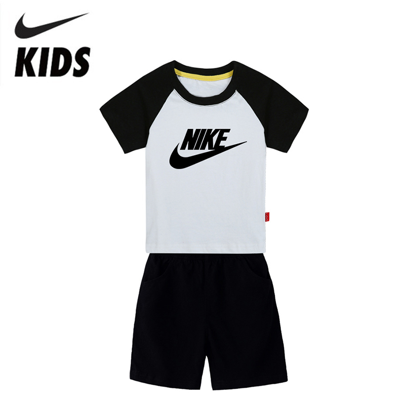 Nike Summer Children Clothing Sets Boy T-shirt Girl Clothes Cotton Short Sleeve Kids Sport Suits For Kids 2Y-10Y
