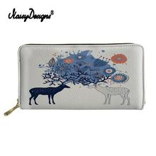 Custom Images Ladies Wallet 3D Christmas Elk Print Fashion Women Leather Purse Multifunction with Zipper Money Bags