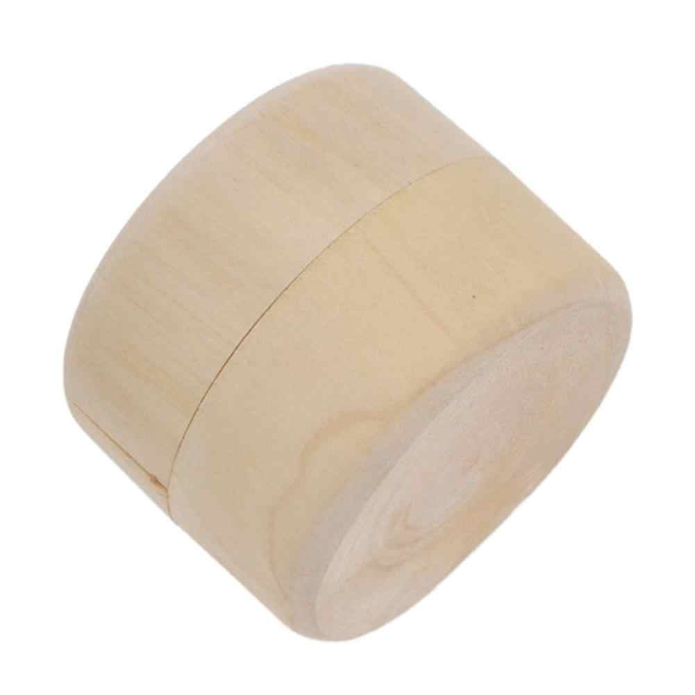 Mini Round Pine Wood Ring Jewelry Trinket Soap Box Storage Container Gift Case
