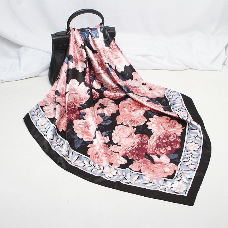 Fashion Floral Print Hijab Scarf For Women Bandana For Head Silk Satin Hair Scarfs Female Square Shawls Neck Scarves For Ladies