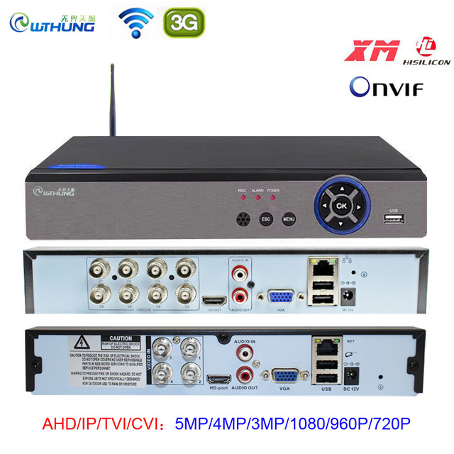 AHD 5MP CCTV 와이파이 DVR NVR H.265 4CH 8CH P2P Xmeye 클라우드 비디오 레코더 홈 감시 보안 CCTV ONVIF AHD IP 카메라