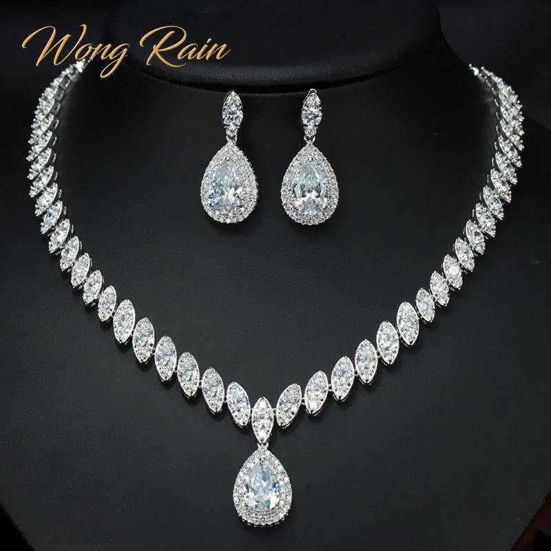 Wong Rain 100% 925 argent Sterling rubis émeraude saphir pierre gemme collier/boucles d'oreilles/anneaux ensembles de bijoux en gros