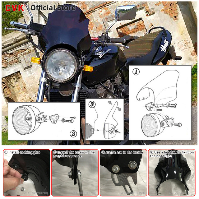 Motorcycle Round Lights Windscreen  5