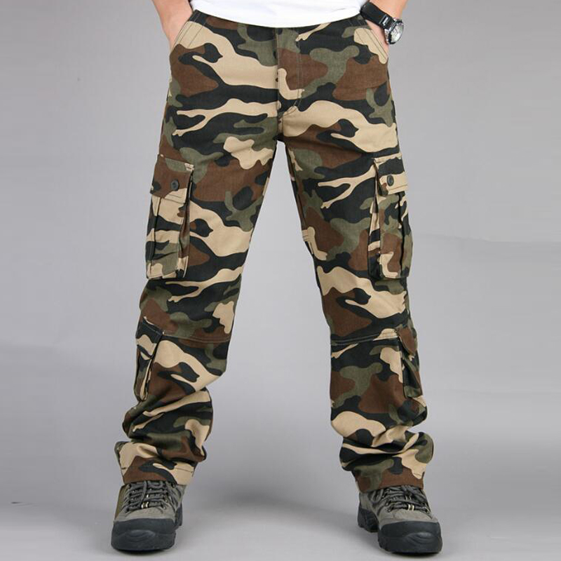 Autumn Winter Camouflage Military Pants Men Casual Camo Cargo Trousers Cotton Multi-pocket Urban Overalls Tactical Pants 51 52