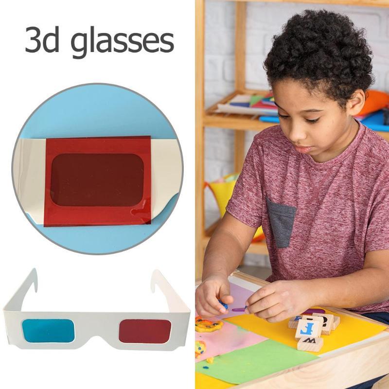 DIY Materiais Modelo de Óculos Vermelho Azul 3D Experimento Ciência Brinquedos Educativos