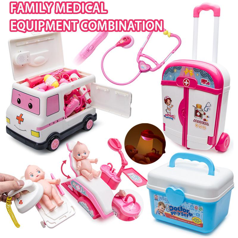 Children's Simulation Doctor Toy Suit Medicine Kit Toolbox Girl Nurse Boy Stethoscope Injection Toy Role Playing Play House Toy