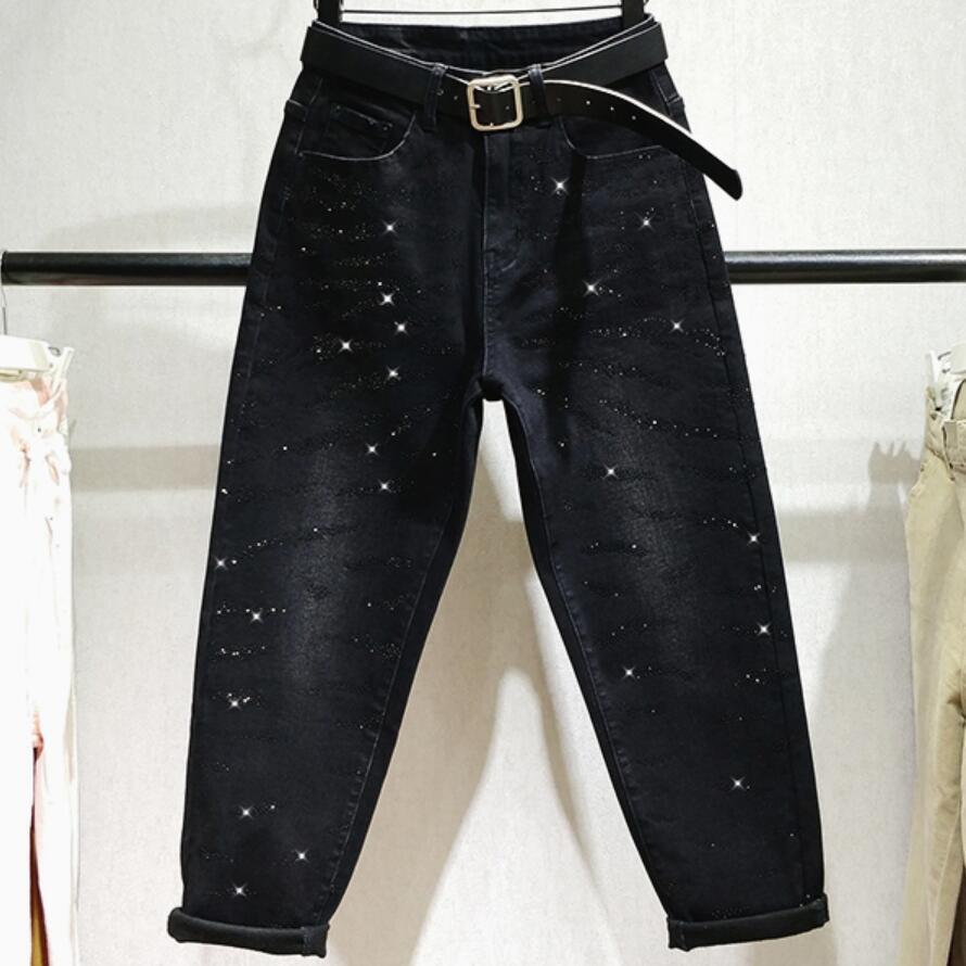 Plus Size 26-32!Women Harem Diamond Boyfriend Jeans For Women Plus Velvet Spring Autumn