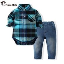 Recém nascidos roupas xadrez camisa com calça jeans de cor azul conjunto de roupas conjunto roupas bebes 2 pçs/set hot sale chlild