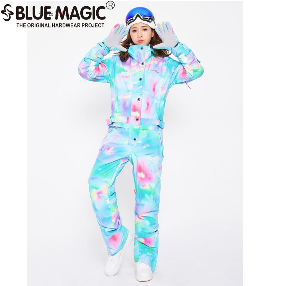 Синий волшебный водонепроницаемый Сноубординг цельный лыжный комбинезон женский сноуборд-30 градусов лыжный костюм зимняя одежда комбинезон - Цвет: CLOUD