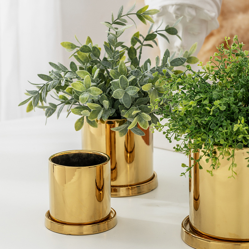 Nordic Ins Gold Electroplating Ceramic Flower Pot Light Luxury Ornaments Green Plants Succulent Potted Home Garden Decoration Just6F