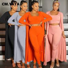 CM YAYA Streetwear sudadera conjunto de mujeres capa + tanque + Legging pantalones conjunto activo chándal de tres 3 pieza Fitness traje