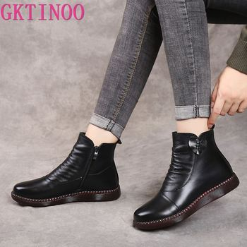 GKTINOO Autumn Winter Woman Genuine Leather Ankle Boots Female Casual Shoes Women Waterproof Warm Snow Boots Ladies Shoes haraval handmade winter woman long boots luxury flock round toe soft heel shoes elegant casual warm retro buckle solid boots 289