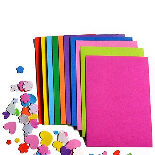 10pcs/lot Lowest Price 10 color A4 Thick Multicolor Sponge Foam Paper Fold scrapbooking Paper Craft DIY