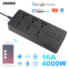 WIFI smart power strip Universal works with alexa googlehome Bluetooth control multi plug 6 AC 4 USB voice contro UK/EU/US/AU