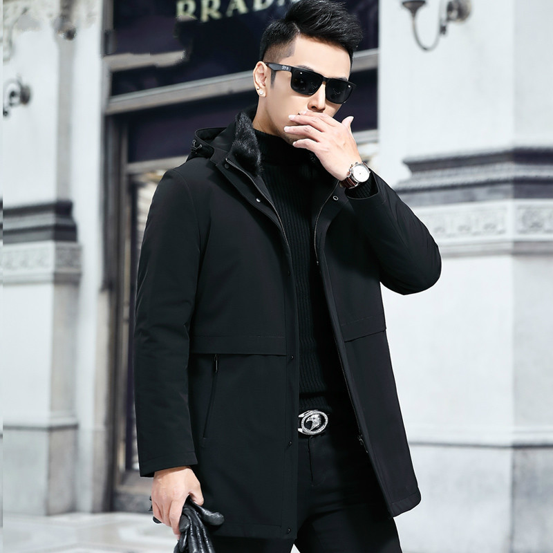 Winter Jacket Men Parka Real Rex Rabbit Fur Coat Duck Down Long Parka Jackets New Blouson Homme Hiver Y8713 YY301