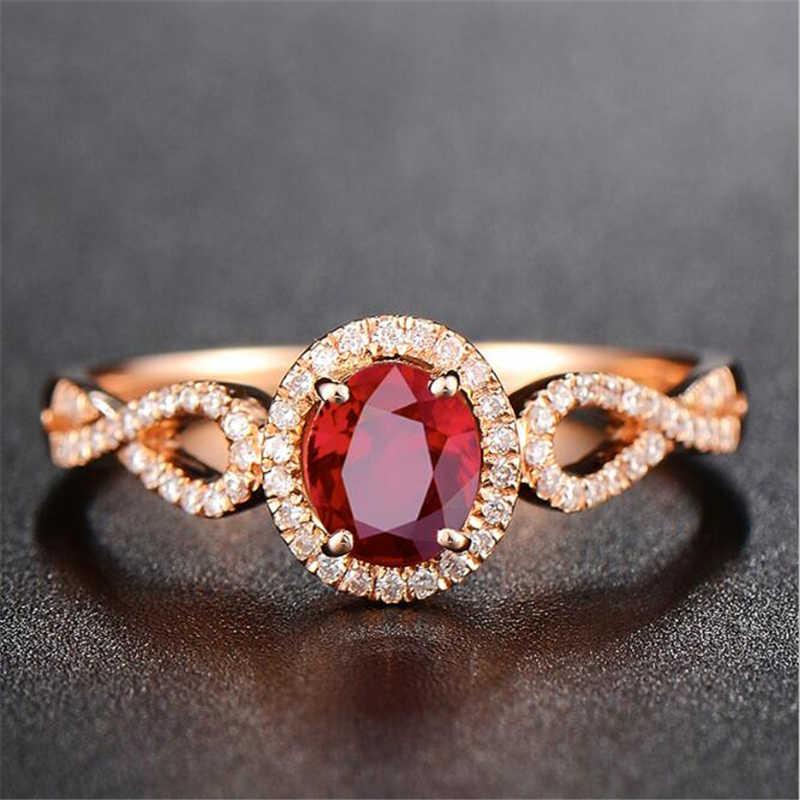 Ataullah ทับทิมสีแดงทับทิมแหวน 925 แหวนเงิน 18 K Rose Gold Plated ฝัง 3A Zircon แหวนพลอยเครื่องประดับ Fine สำหรับผู้หญิง RW085