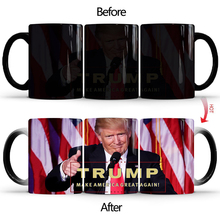 New 350ml Donald Trump Color Change Cup Mug Creative Ceramic Tea Coffee Milk Mugs Heat Sensitive Cup Gift for Your Family Friend baldr earth mark cup tetris the heat change thermal color mugs