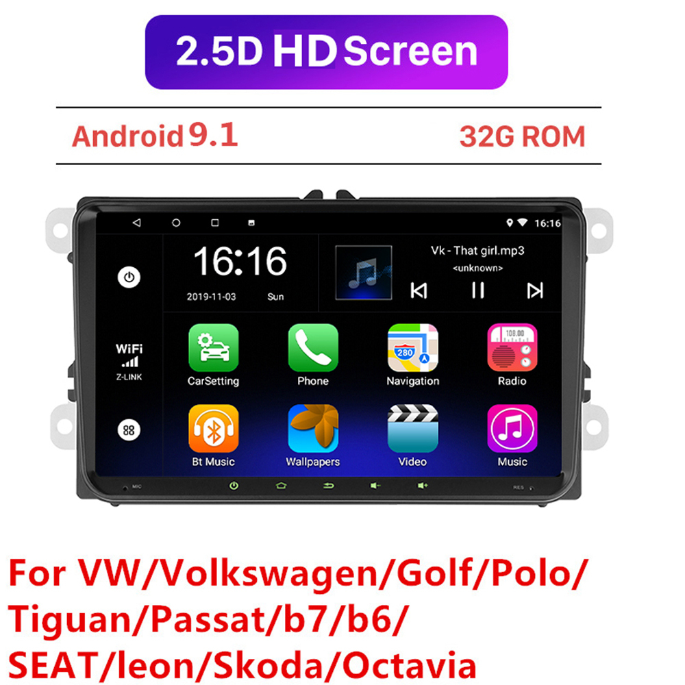 Android 9.1 9inch Car Multimedia Player 2 din GPS car Radio For Skoda/Seat/Volkswagen/VW/Passat b7/GOLF 5 6/POLO 2+32GB image