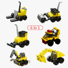 6 In 1 Assembly Building Blocks City Engineering Car Road Roller Truck Front Crane Forklift Brick Diy Toy For Children Boy Gifts