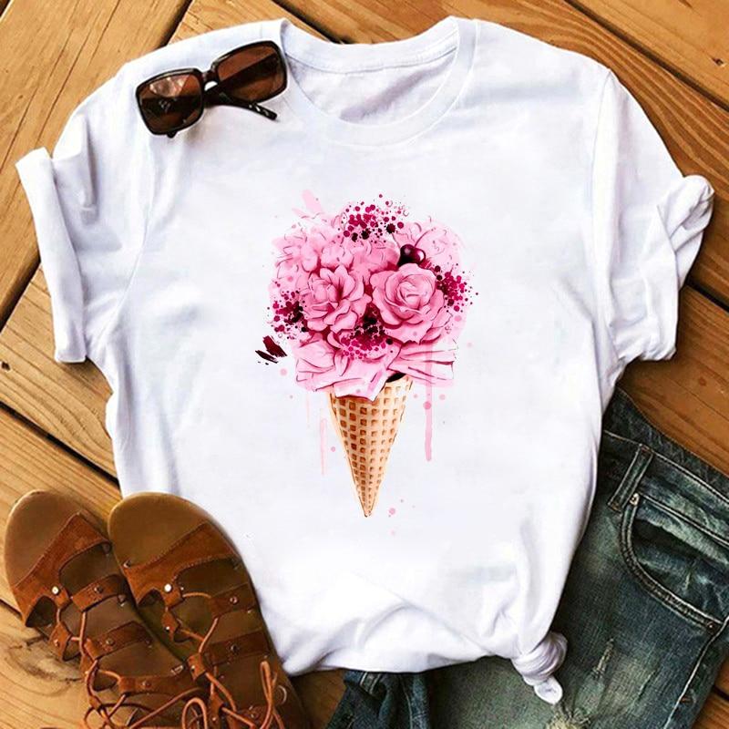 Maycaur Women Flower Print Tshirts Summer Casual Short Sleeve Tshirt Kawaii Women Shirt T Female T-shirt Tops Vogue Woman Tees