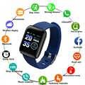 116 mais relógio inteligente das mulheres dos homens pulseira monitor de freqüência cardíaca pressão arterial fitness rastreador smartwatch esporte relógio para ios android