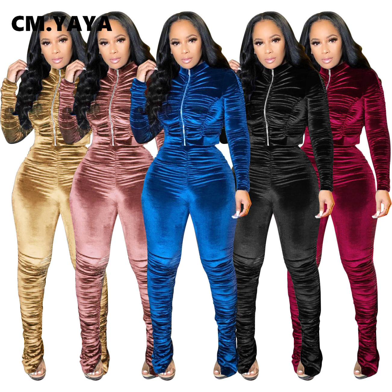 CM.YAYA Aktive Samt Gestapelt Sweatsuit frauen Set Zipper Jacke Hosen Anzug Streetwear Trainingsanzug Zwei Stück Set Fitness Outfit