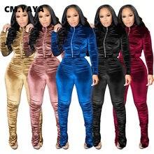 CM.YAYA-Conjunto de chándal apilado de terciopelo activo para mujer, chaqueta con cremallera, pantalones, ropa de calle, chándal, conjunto de dos piezas, atuendo de Fitness