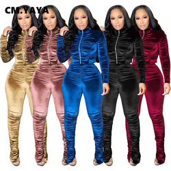 CM.YAYA Active Velvet Stacked Sweatsuit Women's Set Zipper Jacket Pants Suit Streetwear Tracksuit Two Piece Set Fitness Outfit