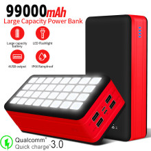 99000mAh Solar Power Bank With 4 USB Port Come With Camping Light for Outdoor Travel Illumination Apply to Iphone Xiaomi Samsung