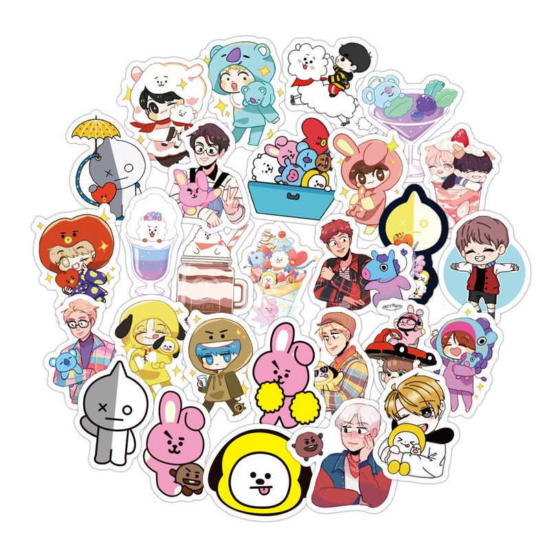 60Pcs/Set Cute Expression Stickers Cartoon Q Version Korean Combination Sticker For Luggage Laptop Notebook Refrigerator For Kid
