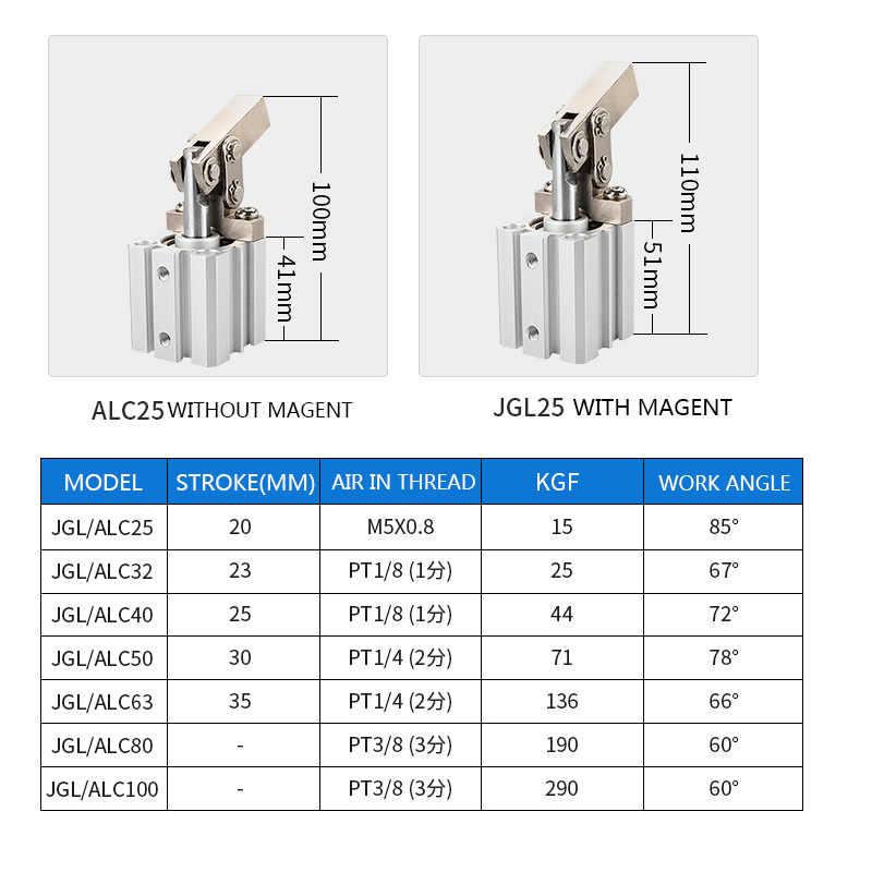 JGL рычажный цилиндр ALC зажимный рокер штампованный зажим воздушного давления цилиндр 25/32/40/50/63/80/100 T5R