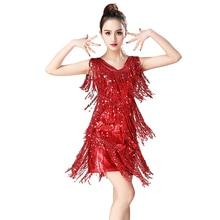 Latin Dance Dress Dancewear Performance Dress Sequin Fringe Jazz Dance Performance Stage Show 1920s Flapper Dress V Neck plus embroidered fringe tie neck dress
