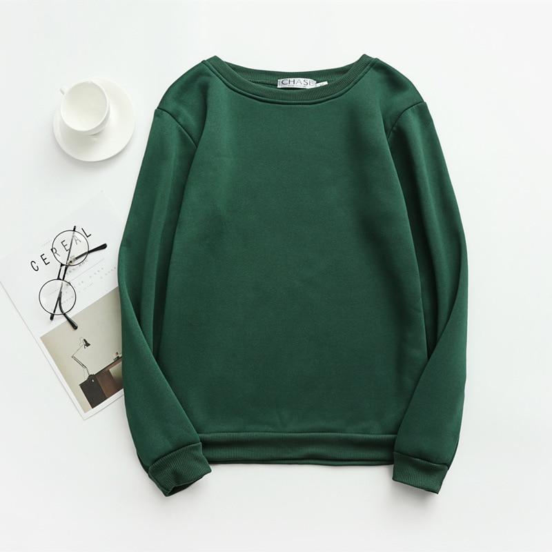 Women Solid Sweatshirts Korean Style Autumn Ladies Student Round Neck Long Sleeve Loose Pullover Tops WDC6301 16