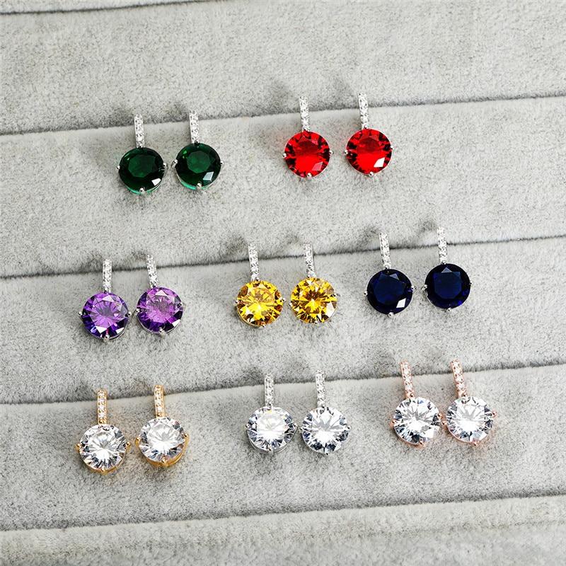 Vintage Female Purple Crystal Stone Earrings Rose Gold Silver Color Stud Earrings Luxury Round Zircon Wedding Earrings For Women