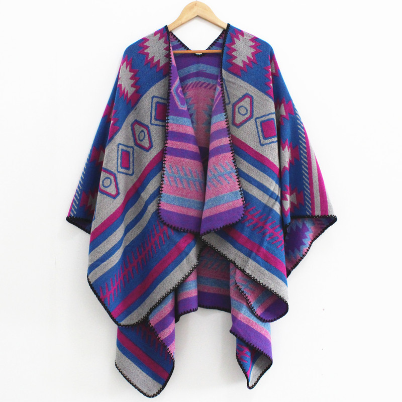 RANAWEELA Women 39 s Bohemian Print Blanket Poncho Cape Shawl Open Front Shawl Scarf Wraps Winter Ethnic Pashmina Ruana Female in Women 39 s Scarves from Apparel Accessories