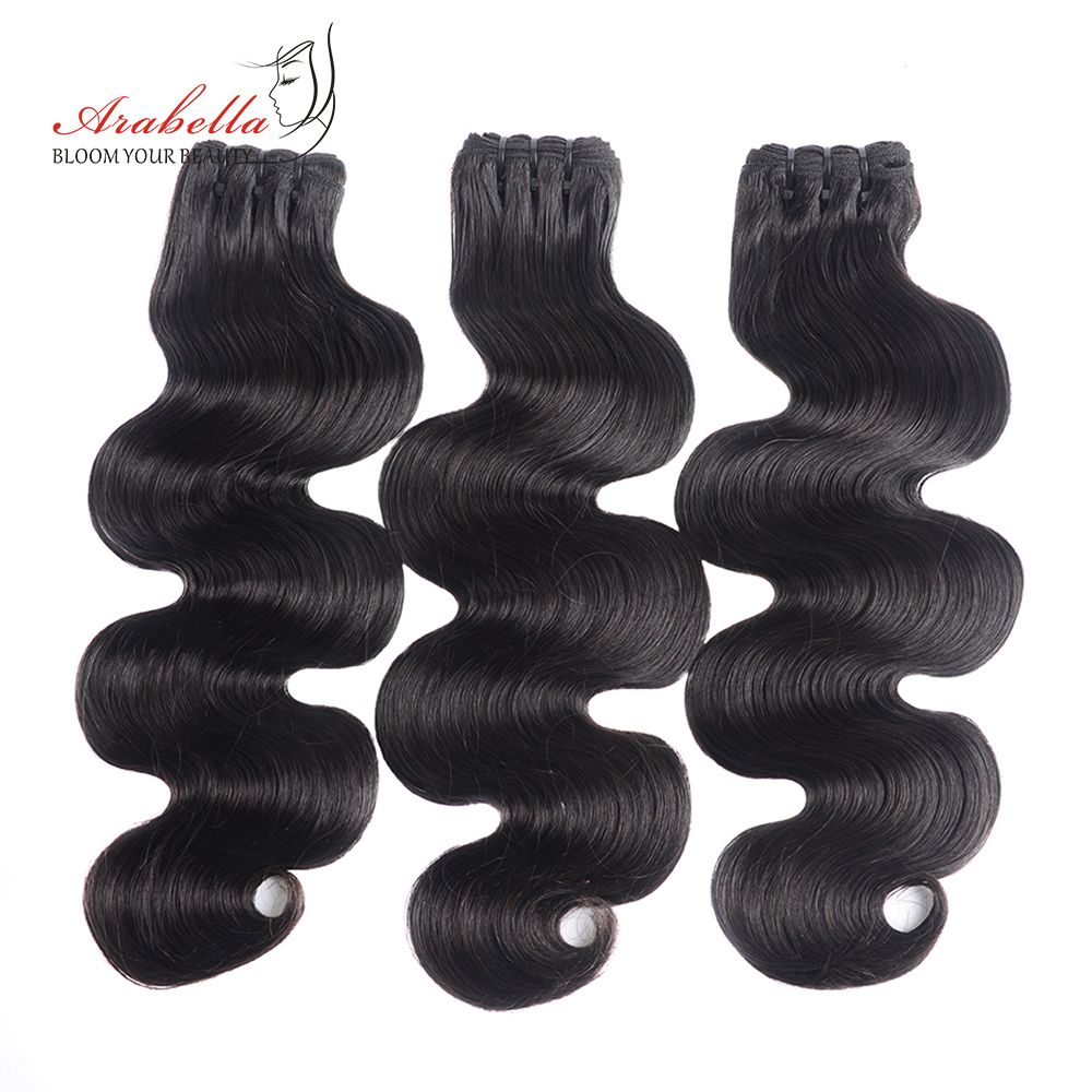 Super Double Drawn Body Wave Hair Bundles With Transparent Lace Closure 100%  3 Bundles Virgin Hair  Arabella 3