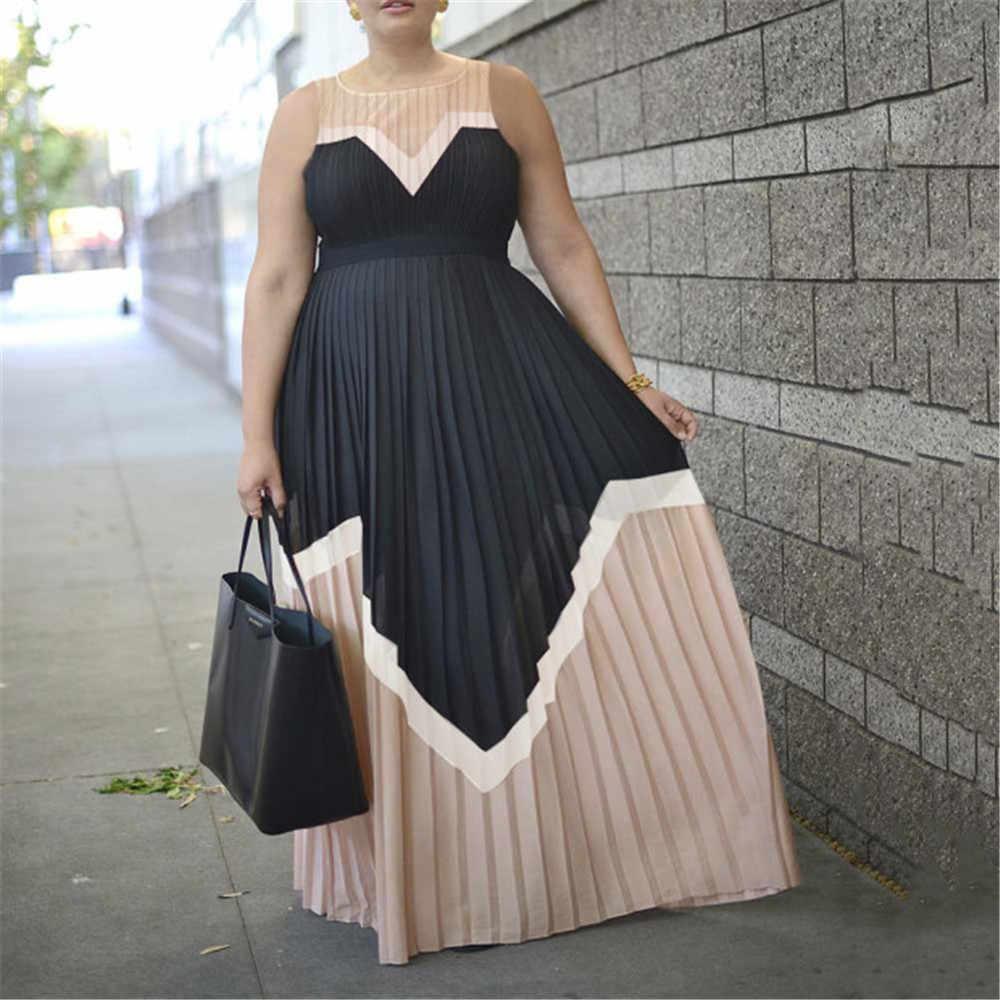 Летние винтажные сексуальные офисные женские платья размера плюс, женские длинные платья с высокой талией, плиссированные Ретро элегантные вечерние Женское Макси-платье