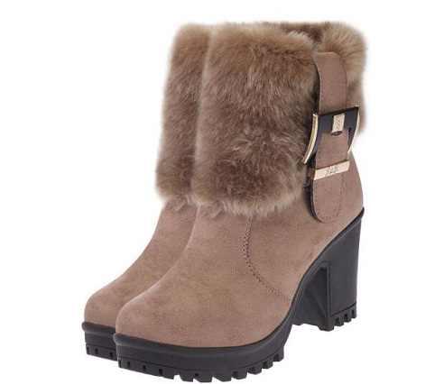2019 kare topuk kadın kış ayakkabı klasik toka sıcak kürk kar bayan botları yüksek topuklu siyah platform yarım çizmeler botas